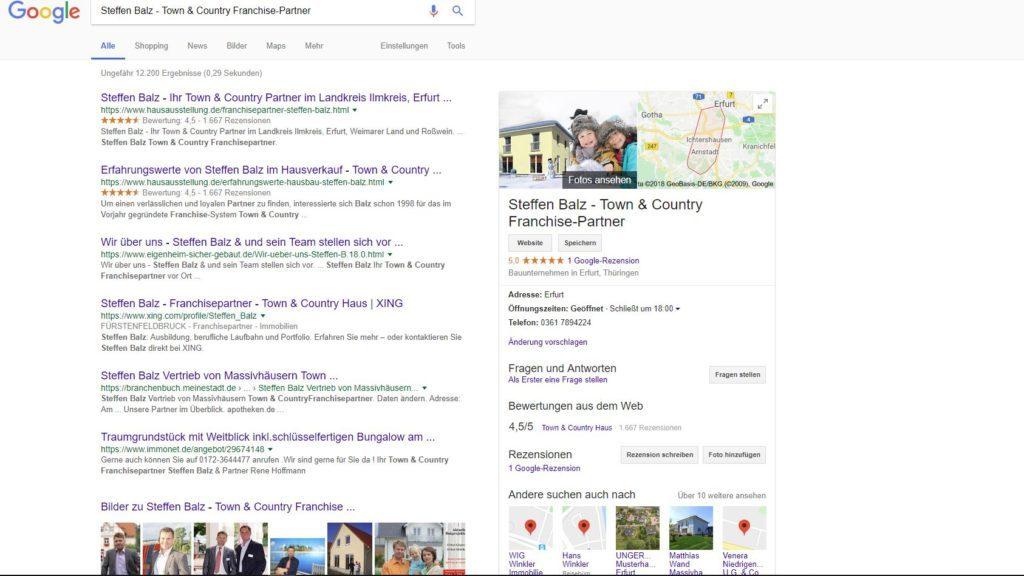 Google Snippet Darstellun