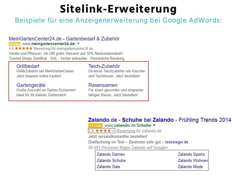 Sitelinks - Anzeigenerweiterung