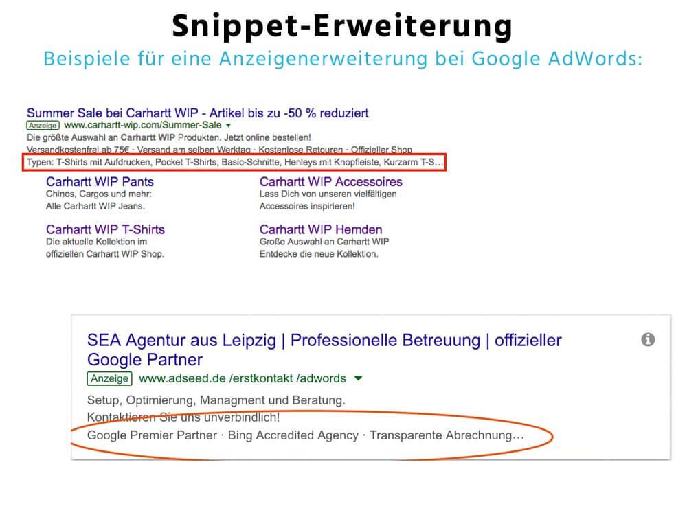 Snippet-Erweiterung - Anzeigenerweiterung