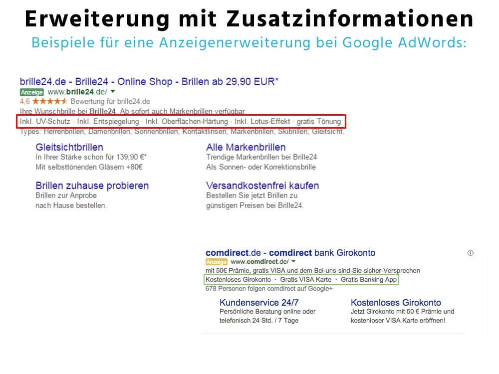 Zusatzinformationen - Anzeigenerweiterung