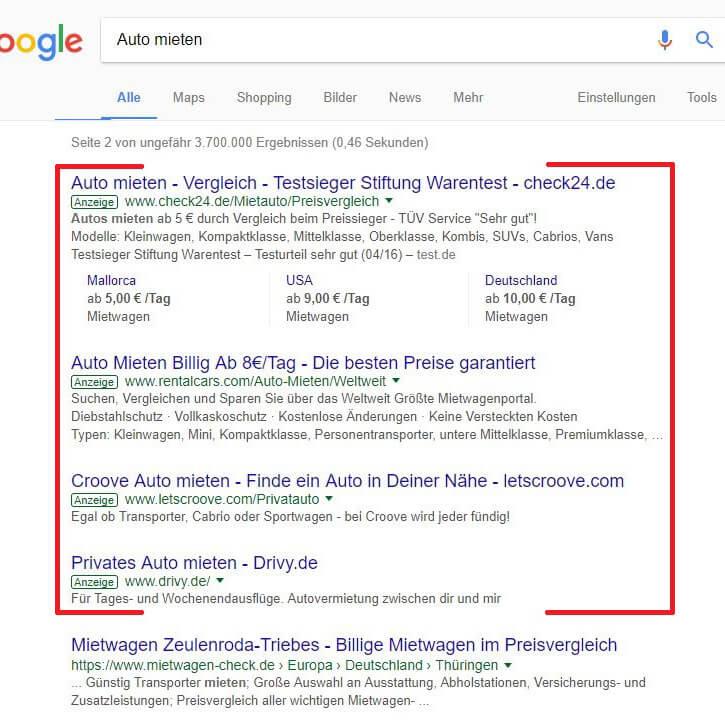 Google AdWords Textanzeigen