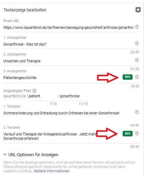Google AdWords - Neues Anzeigenformat -Beispiel