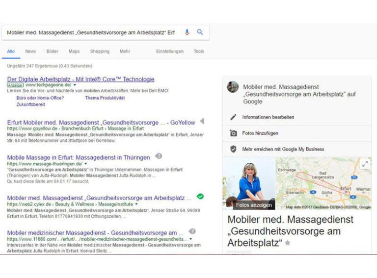 Google Darstellung des Eintrages für die Kundin Jutta Rudolph