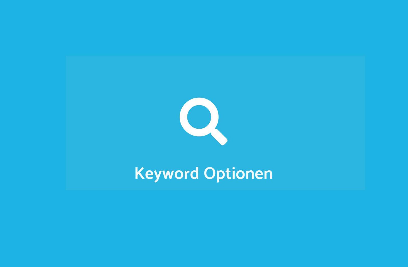 Keyword Optionen im Google Ads Tool