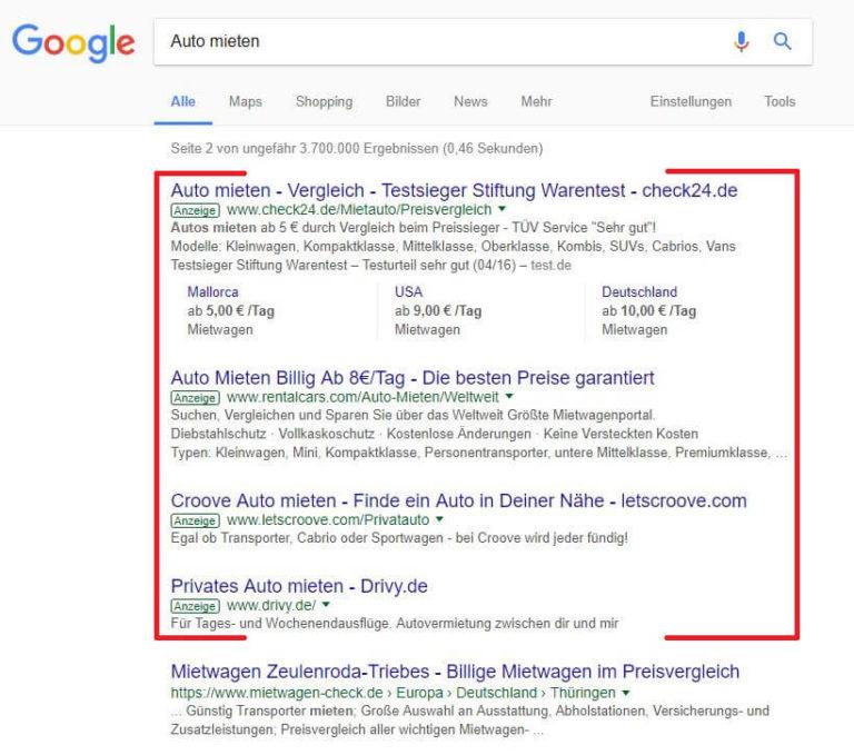 "Suchmaschinenwerbung: Keyword ""Auto mieten"""