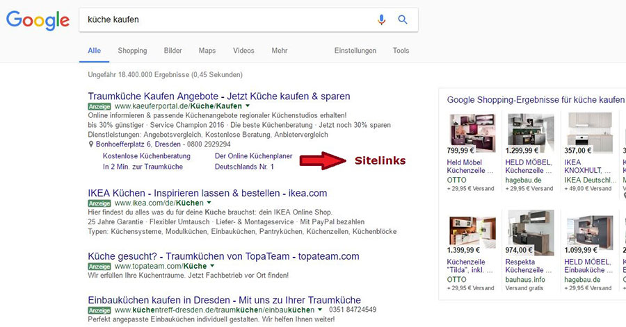 Google Adwords - Sitelinks