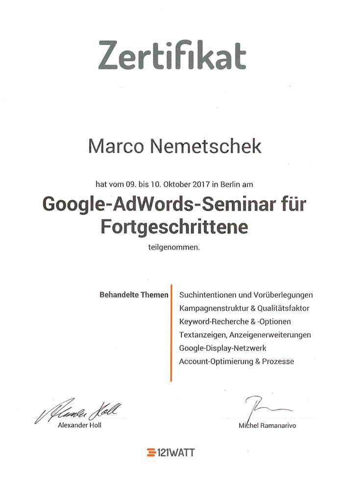 Google Adwords Seminar für Fortgeschrittene