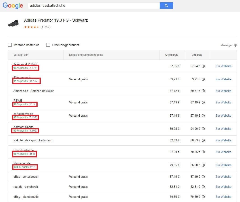 Bewertungsanzeige aller Shops in Google Shopping