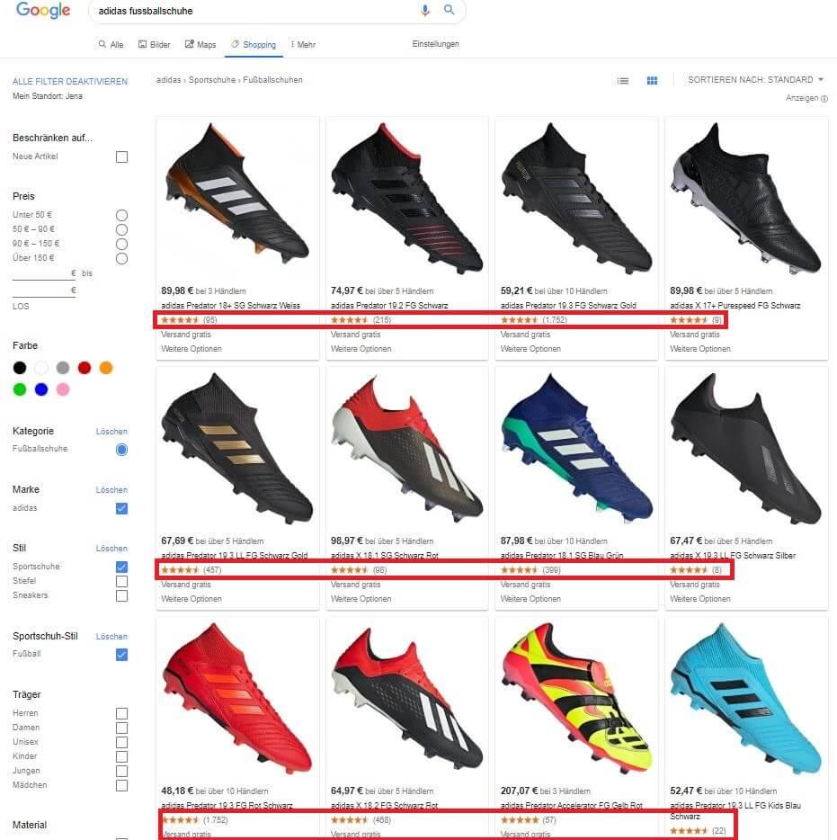 Bewertungsanzeige in Google Shopping