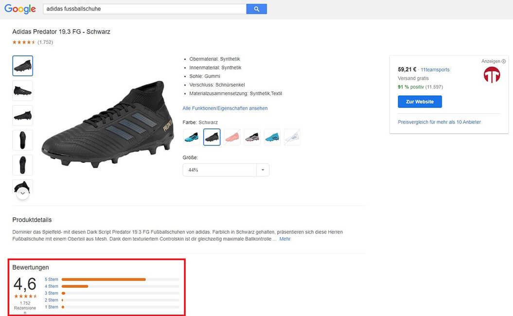 Produktdetailseite - Google Shopping