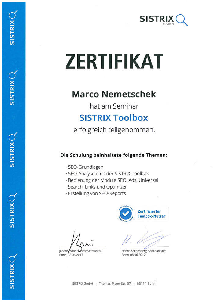 SISTRIX Toolbox - Funktionsbedienung