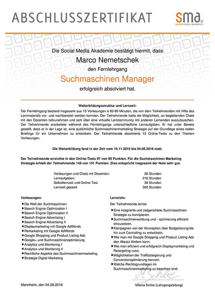 Suchmaschinen Manager