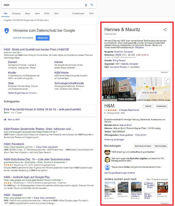 Screenshot - Knowledge Graph durch das H&M Google+-Profil, Stand: 06.01.2017