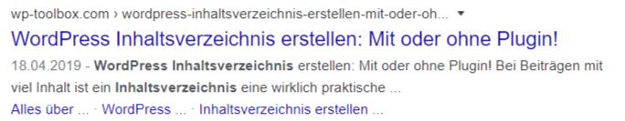 Inhaltsverzeichnisse in Google SERPs