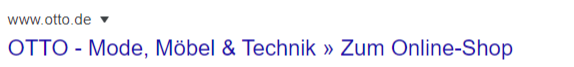 Otto Suche - Screenshot vom Seitentitel der Startseite des Onlineshops