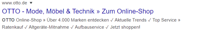 Otto Suche - Screenshot der Meta-Description des Onlineshops