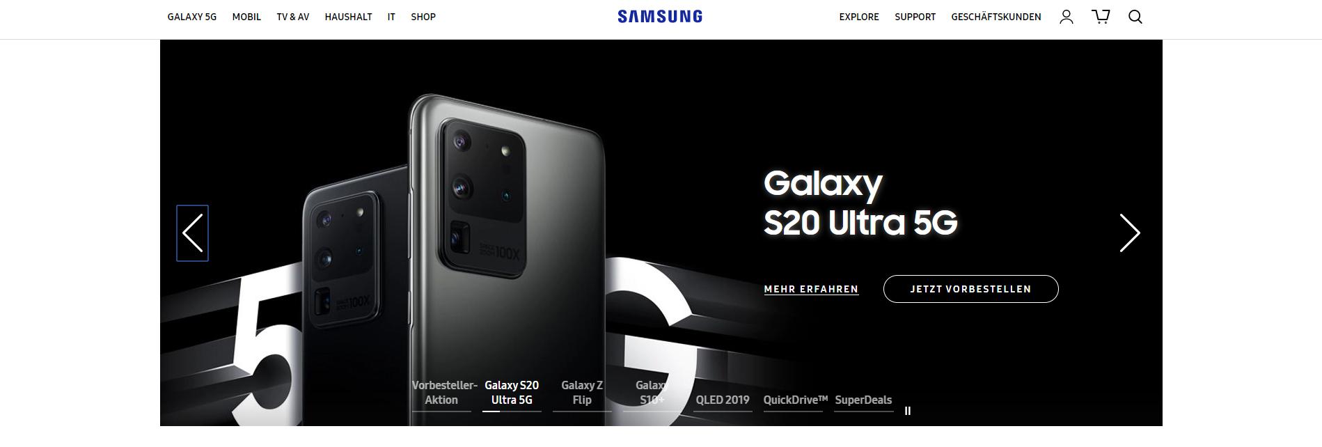 Slider von Samsung, Beispiel der OnlineMarketing Heads