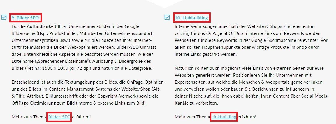 Beispiel für interne & externe OnPage-Links der OnlineMarketing Heads