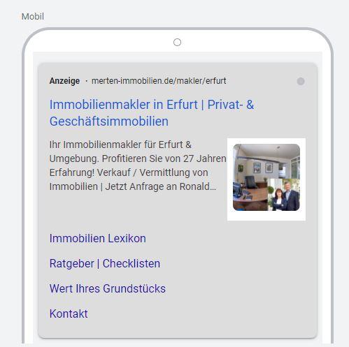 aktuelles Kundenbeispiel 16.07.2021 von Anzeigenerweiterungen: Bild-Bilderweiterung + Sitelinks