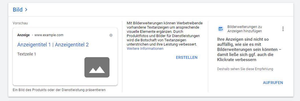 Anzeigenerweiterung Bild-Bilderweiterung - Ansicht im Google Ads Tool