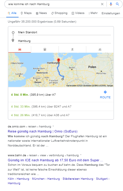 Routenplanung per Voice Search