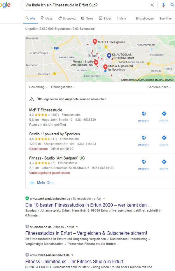Voice Search: W-Frage nach einem Fitnessstudio in Erfurt