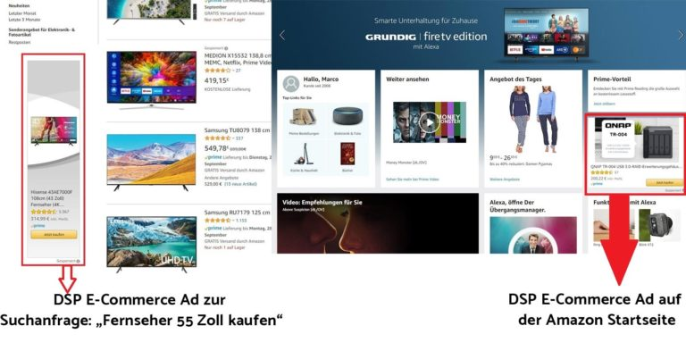 Amazon E-Commerce Ads auf der Amazon Startseite und in den Amazon Suchergebnissen