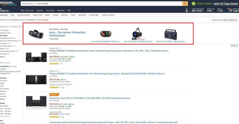 Brand Ads = Headline Search Ads auf Amazon