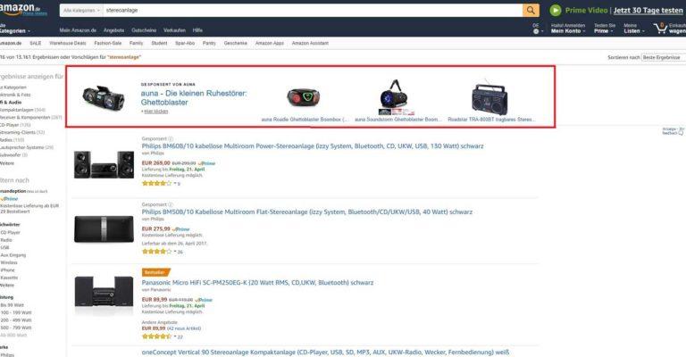 Brand Ads = Headline Search Ads auf Amazon