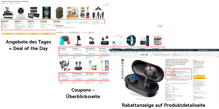 Amazon - Tagesangebote (Deal of the Days), Blitzangebote oder Coupon Aktionen