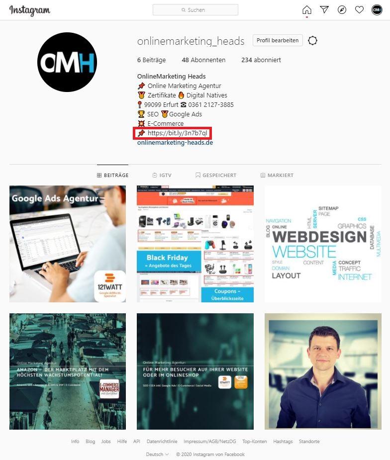 Impressum bei Instagram: Lösung der OnlineMarketing Heads