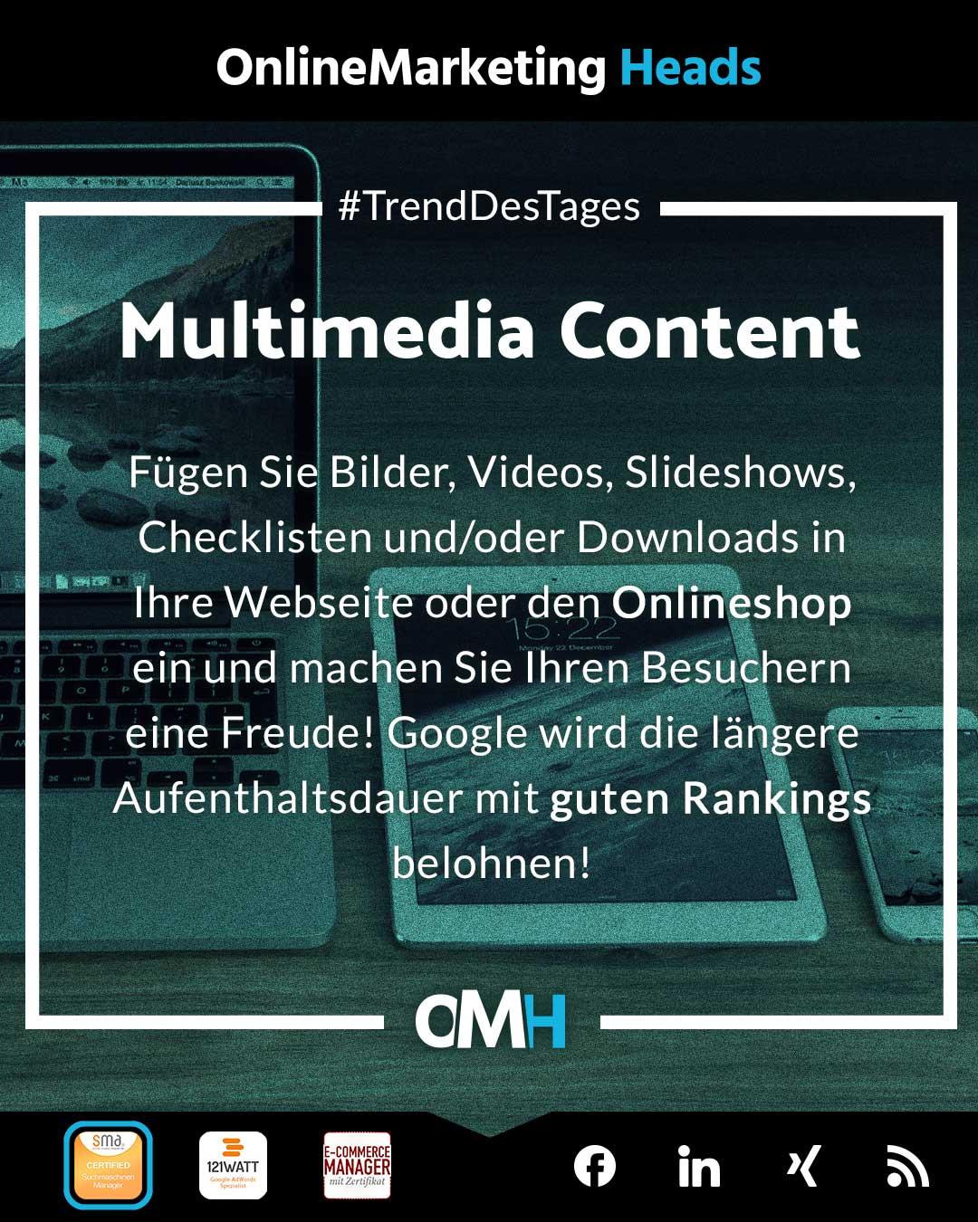 Multimedia Content SEO Trend 2021 OnlineMarketing Heads