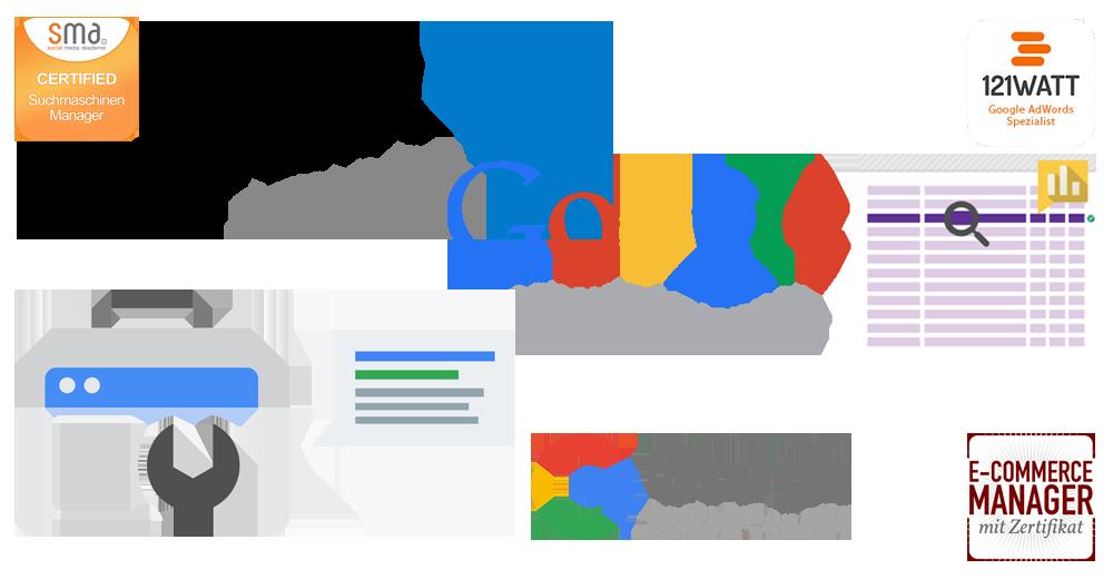 Online Marketing Agentur - SEO, SEA & E-Commerce Zertifizierungen, professionelle Online Marketing Tools, Berufserfahrung