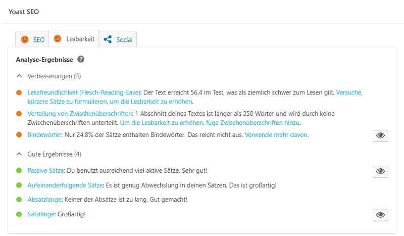 Screenshot WordPress Yoast SEO Lesbarkeit