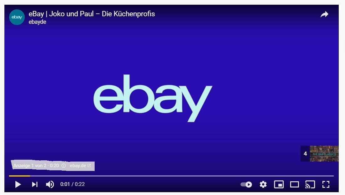 YouTube Ads von eBay