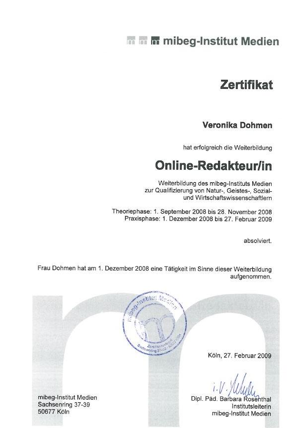 Online Redakteurin Zertifikat