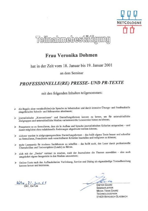 Professionelle Presse- und PR-Texte Seminar Zertifikat
