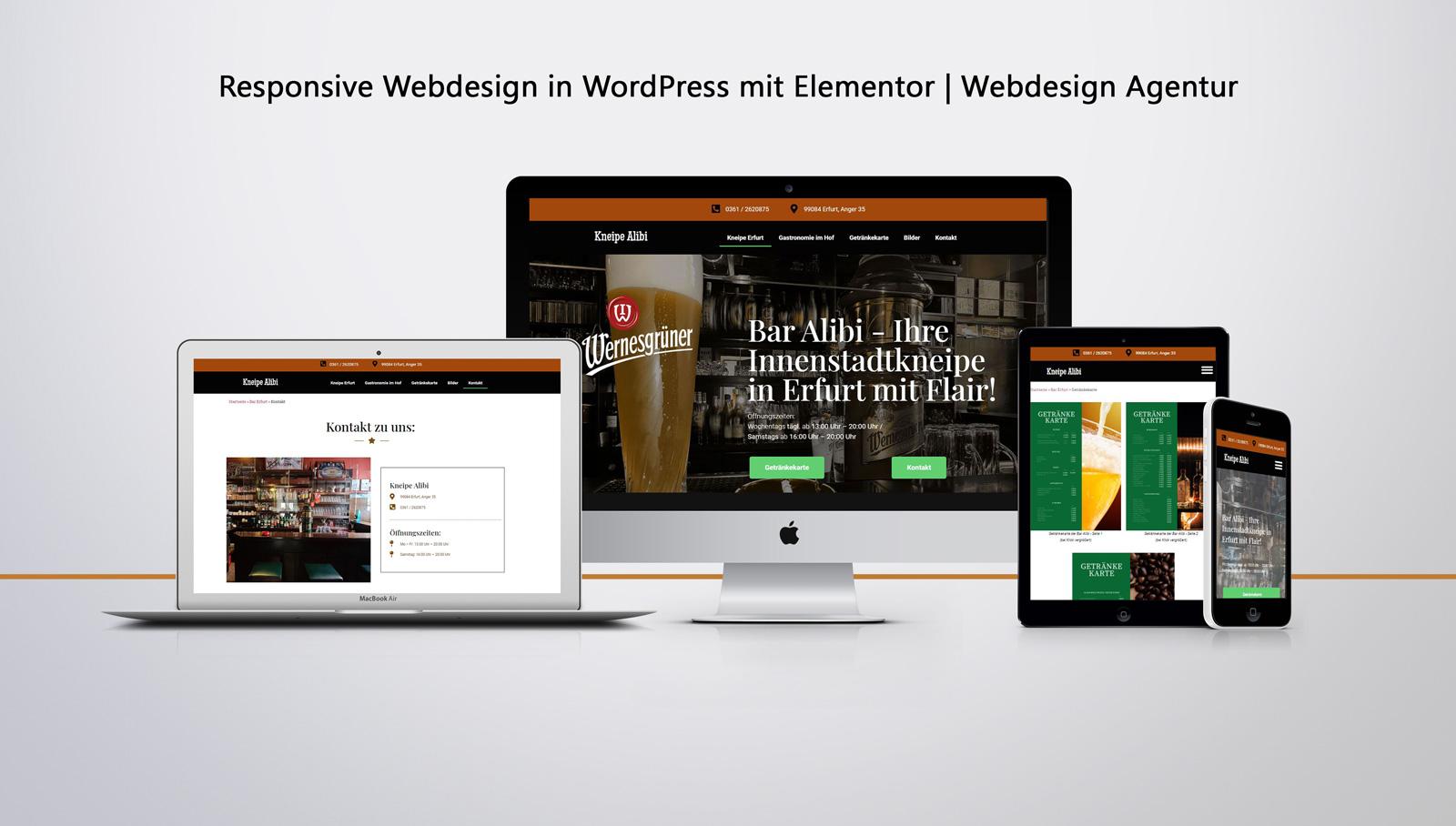 Responsive Website Erstellung Kneipe Alibi Erfurt