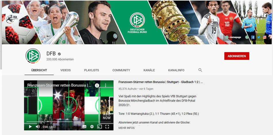 YouTube Kanal vom DFB