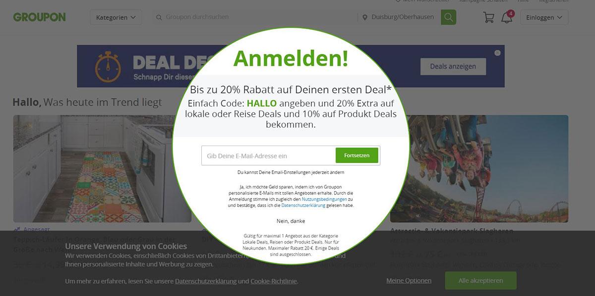 Screenshot Groupon.de Beispiel Pop-Up